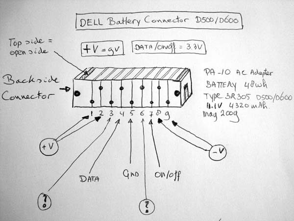 Dell D500    D600 Battery   Pinout Cable And Connector Diagrams