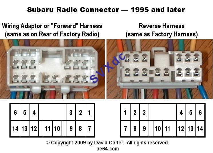, connector or adapter : Subaru radio wiring diagrams from 1993-2009