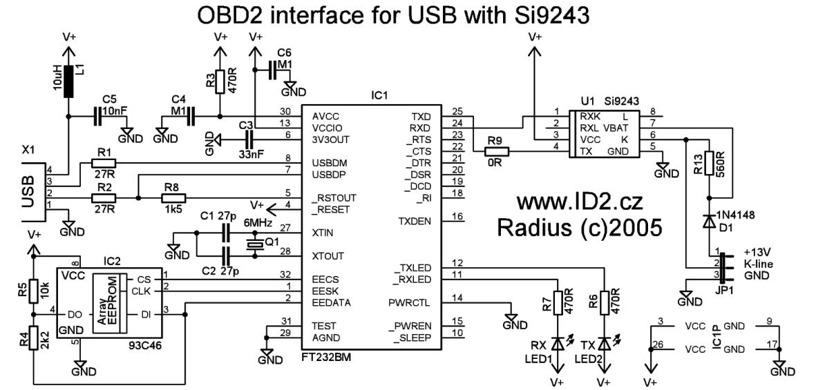 obd2 to usb interface cable scheme and plate